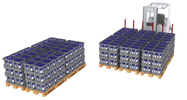 Multi pallet handling 4 or 6 pallets