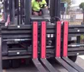 Multi pallet handler used as wide opening sideshift fork positioner for pallets and wide building materials example